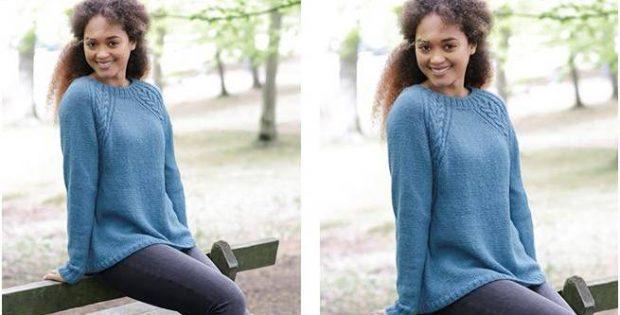 Arendal Knitted Raglan Sweater Free Knitting Pattern
