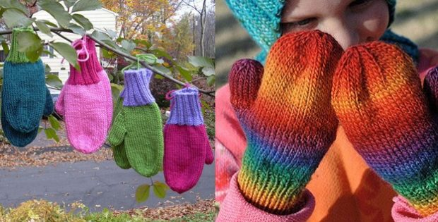 Basic Knitted Childrens Mittens Free Knitting Pattern