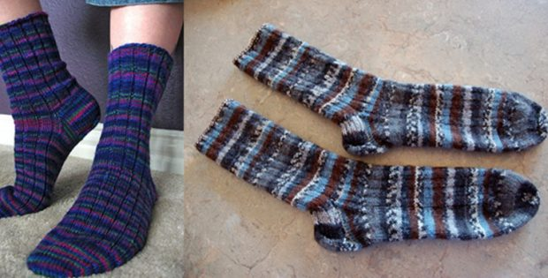 Basic Knitted Ribbed Sock Free Knitting Pattern