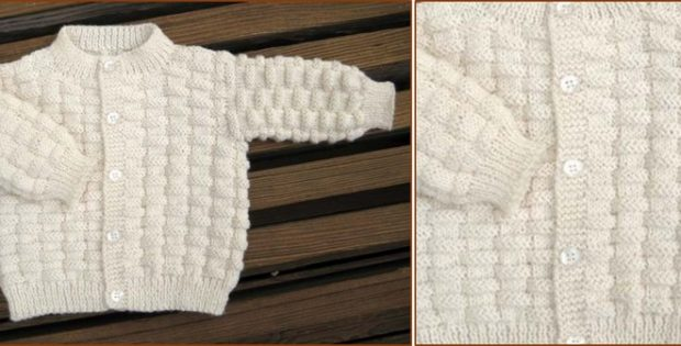 Basket Weave Knitted Baby Cardigan Free Knitting Pattern