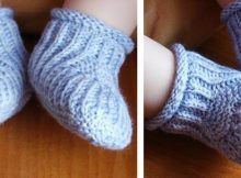Blue Steps knitted baby booties | the knitting space