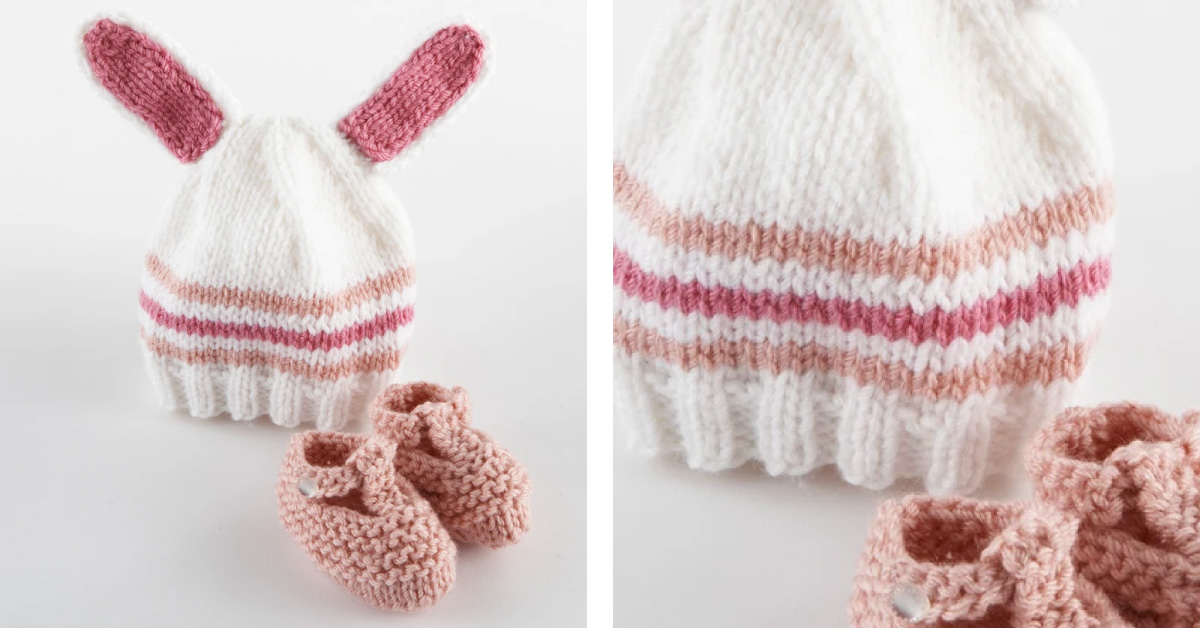 Knitted Baby Bunny Hat And Booties FREE Knitting Pattern