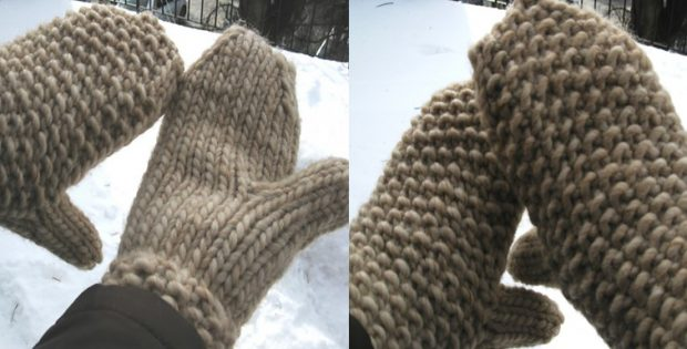 Burly knitted textured mitts | the knitting space