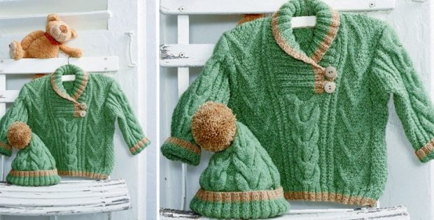 Knitted Cabled Baby Sweater And Hat Free Knitting Pattern