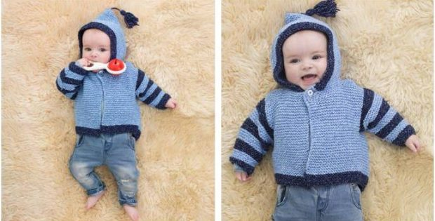 Carson Knitted Baby Hoodie Free Knitting Pattern