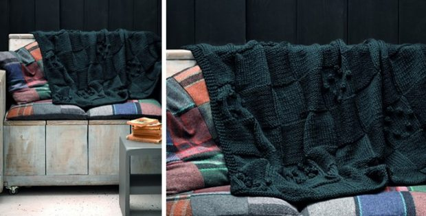 Checkerboard Knitted Throw Free Knitting Pattern