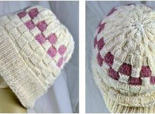 Checkerboard knitted slouch hat | the knitting space