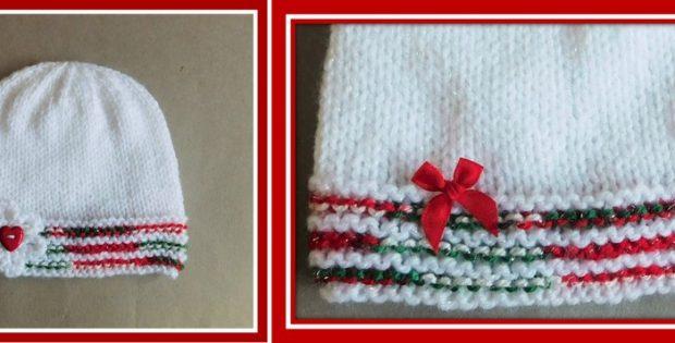 Christmas Glitz Knitted Baby Hat Free Knitting Pattern