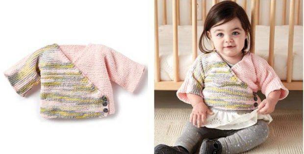 Colorblock Kimono Knitted Baby Cardi Free Knitting Pattern