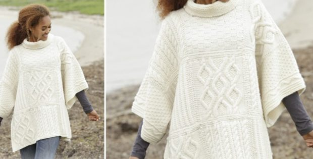 Comfort Chronicles Knitted Poncho Free Knitting Pattern