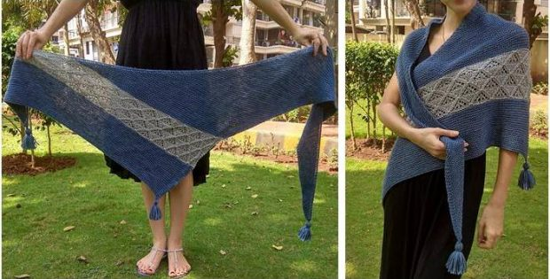 Diamante knitted asymmetrical shawl | the knitting space
