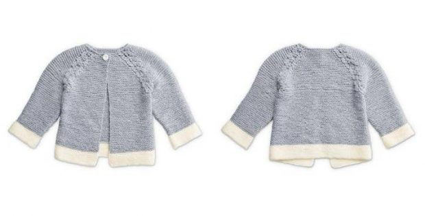 Dipped Detail knitted baby cardi | the knitting space