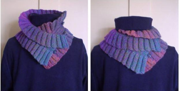 Double Ruffle Knitted Neck Warmer FREE Knitting Pattern