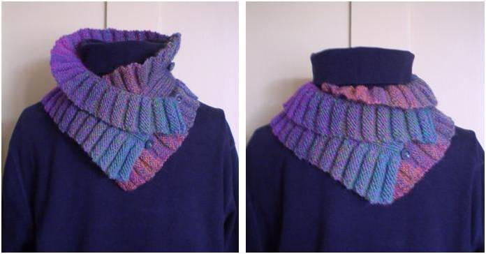 Double Ruffle Knitted Neck Warmer Free Knitting Pattern