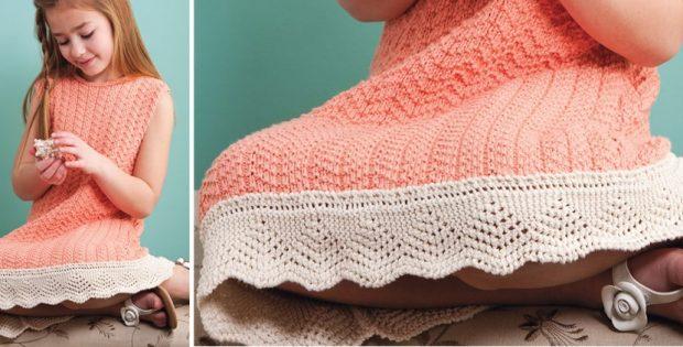 Ebb Tide Knitted Dress Plus Lace Edging Free Knitting Pattern