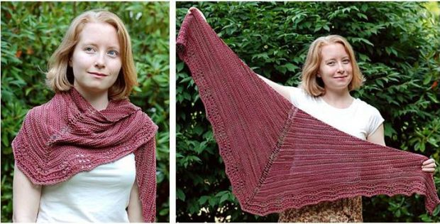 Esmeralda knitted lace-edged shawl | the knitting space