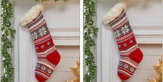 73981bd67 Festive Fair Isle Knitted Stocking  FREE Knitting Pattern + Video