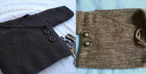 Garter Stitch Knitted Baby Kimono [FREE Knitting Pattern]