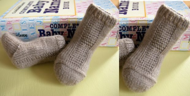 Garter Stripe Knitted Baby Socks Free Knitting Pattern
