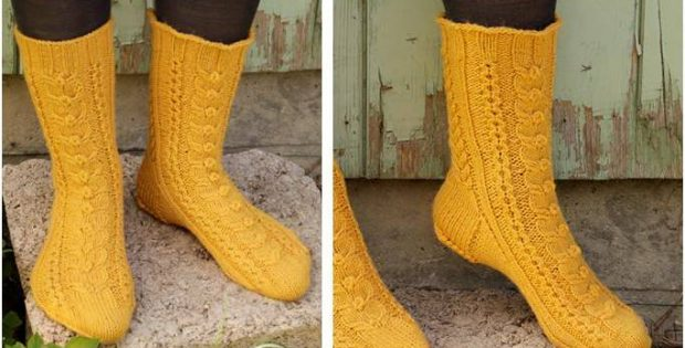 Happy Day knitted cabled socks | the knitting space