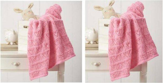 Heartfelt Knitted Lace Baby Blanket Free Knitting Pattern
