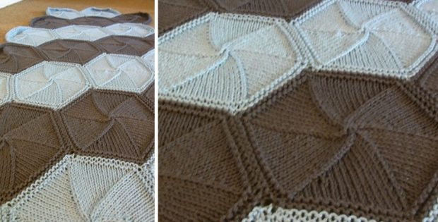 Hexa Ghan Knitted Afghan Free Knitting Pattern