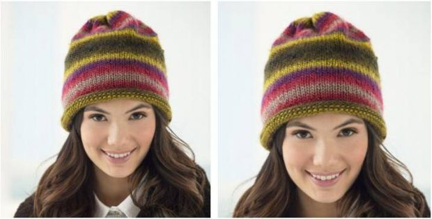 Hip Stripes Knitted Slouch Hat Free Knitting Pattern