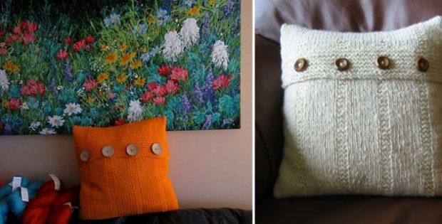 elegant handspun knitted cushion | the knitting space