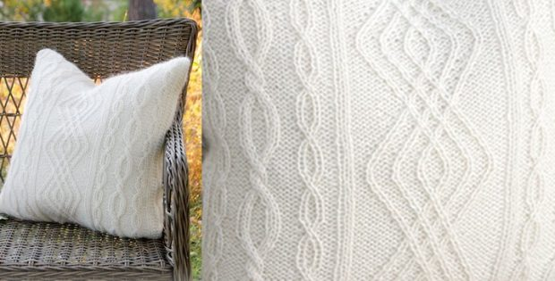 classic Irish Winter knitted pillow | the knitting space