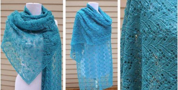 January Estonian Lace Knitted Shawl Free Knitting Pattern