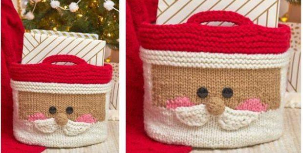 Jolly Santa Knitted Basket Organizer Free Knitting Pattern