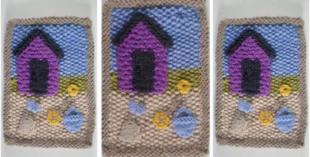 July Beach Hut Knitted Quilt Free Knitting Pattern