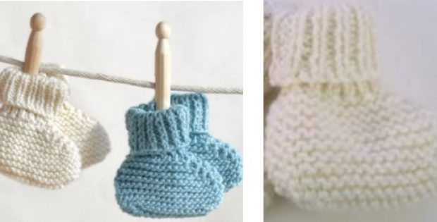 Easy Garter Stitch Knitted Baby Booties Free Knitting Pattern