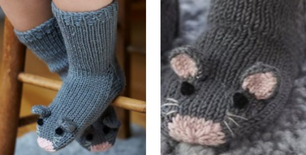 Super cute knitted kids mice socks | The Knitting Space