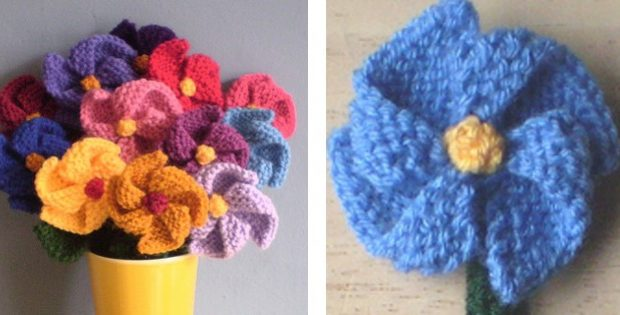 Simple Knitted Pinwheel Flowers Free Knitting Pattern