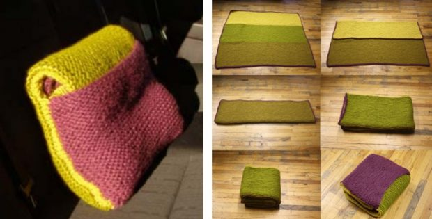 Practical Knitted Car Blanketpillow Free Knitting Pattern