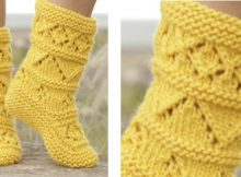 Lemon twist knitted lace slippers | The Knitting Space