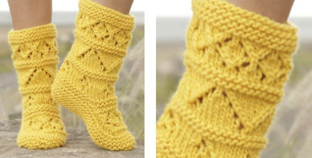 Lemon Twist Knitted Lace Slippers Free Knitting Pattern