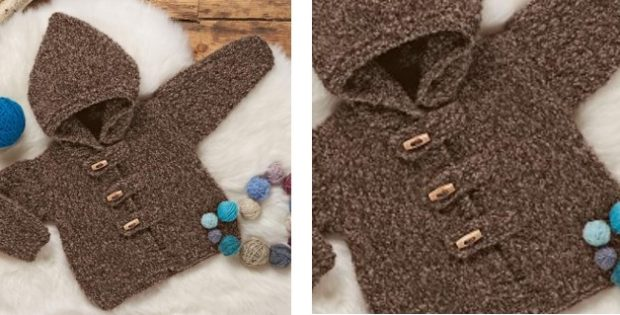 fc5c0d6505e8 Cozy Knitted Baby Hooded Cardigan  FREE Knitting Pattern