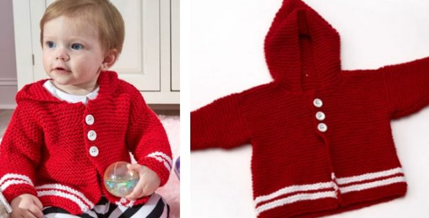 a1d9c189b Cute Knitted Buttoned Baby Hoodie  FREE Knitting Pattern