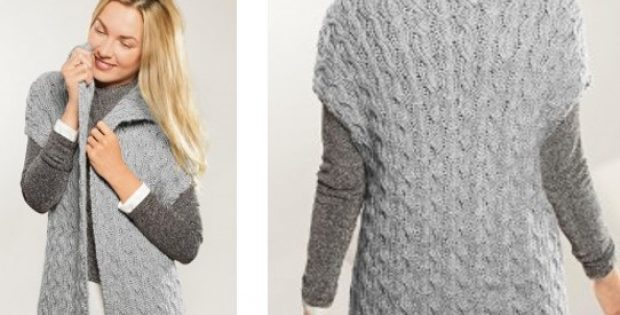 Elegant Knitted Long Cabled Gilet Free Knitting Pattern