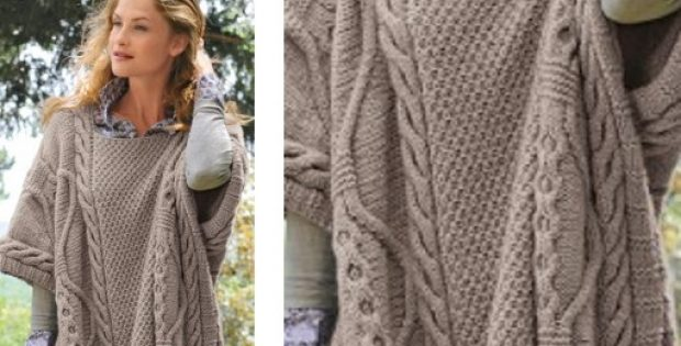 Stylish Baltic Knitted Cabled Poncho Free Knitting Pattern