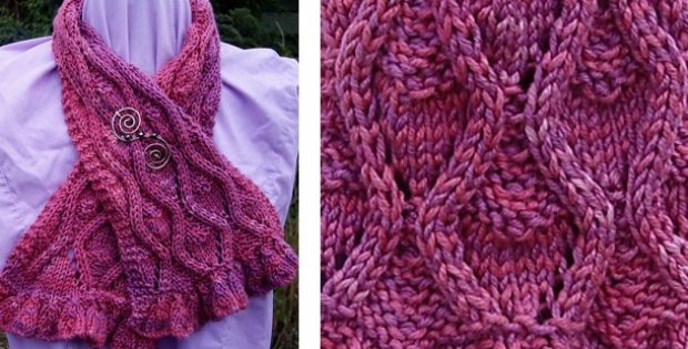 Blowsey Ruffles Knitted Cabled Scarf Free Knitting Pattern