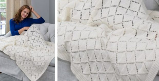 delicate knitted diamonds throw | The Knitting Space