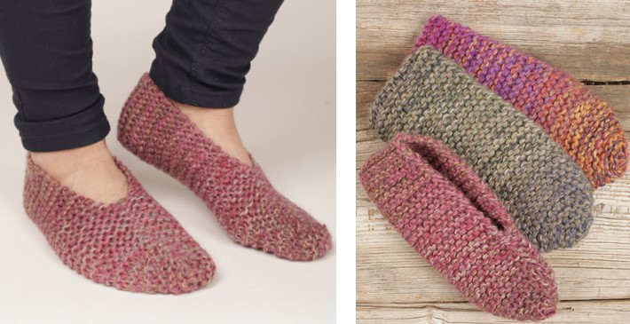 Side Step Knitted Garter Slippers Free Knitting Pattern
