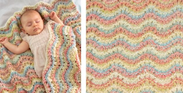 Rocking Waves Knitted Baby Blanket Free Knitting Pattern