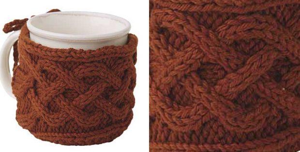 Stylish Knitted Cabled Mug Cozy Free Knitting Pattern