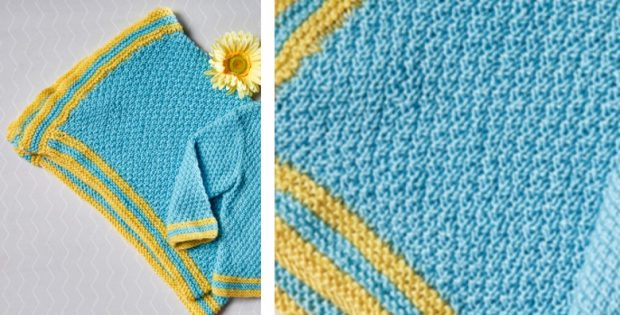 Everyday Moss Stitch Knitted Baby Blanket Free Knitting Pattern