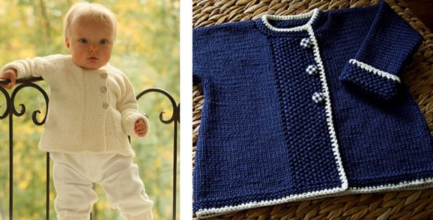 Sweet Moss Knitted Baby Jacket Free Knitting Pattern
