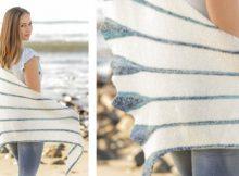 Blue callas knitted gartner stitch shawl | The Knitting Space